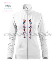Women's zipped jacket - folk embroidered - Kalocsa style - white
