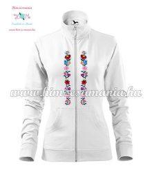 Women's zipped jacket - folk embroidered - Kalocsa style - white