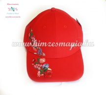 Baseball cap - hungarian embroidery - Kalocsa style - red
