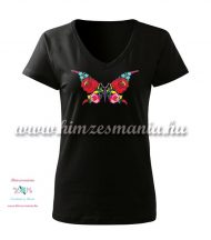 Woman V-neck T-shirt - short sleeve - hungarian folk - hand embroidery - kalocsa butterfly pattern - black