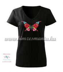 Woman V-neck T-shirt - short sleeve - hungarian folk - hand embroidery - kalocsa butterfly pattern - black