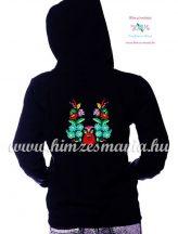 Women' sweatshirt - hand embroidery - hungarian folk motif - black