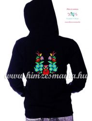 Women' sweatshirt - hand embroidery - hungarian folk motif - black