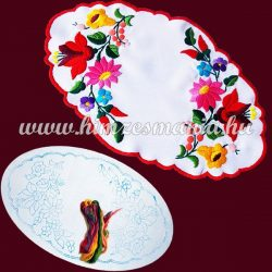 Pre-stamped tablecloth set - hand embroidery - Kalocsa motif - oval - 20x32 cm
