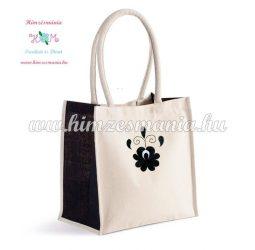 Matyó mintás pamutvászon táska - gépi hímzés - natúr/fekete
