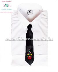 Kids tie - hungarian folk machine embroidery - matyo style - black - Embroidery Mania