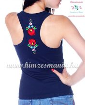 Tank top - machine embroidery - hungarian Kalocsa design - navy - Embroidery Mania
