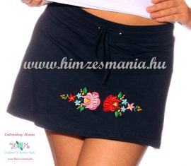 Skirt-short - hungarian folk embroidery - Kalocsa style - navy - Embroidery Mania
