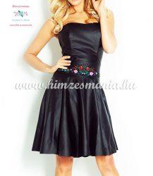 Eco leather dress - hungarian folk embroidery - Kalocsa style - black