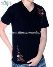 V-nyakú rövid ujjú férfi póló kalocsai hímzett mintával - fekete - Hímzésmánia
