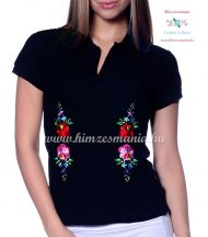 Women polo shirt - hungarian folk  machine embriodery - Kalocsai design - black