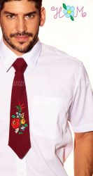 Tie - hungarian folk machine embroidery - Kalocsa pattern - burgundy