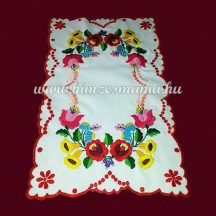 Table runner - hungarian folk embroidery - Kalocsai motif - handmade red borders - 26x40 cm