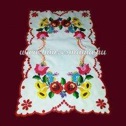 Table runner - hungarian folk embroidery - Kalocsai motif - handmade red borders - 26x40 cm