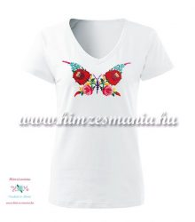 Woman V-neck T-shirt - short sleeve - hungarian folk - hand embroidery - kalocsa butterfly pattern - white