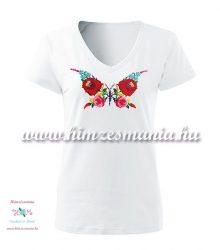 Woman V-neck T-shirt - short sleeve - hungarian folk - hand embroidery - kalocsa butterfly pattern - white