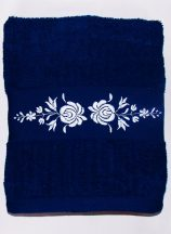 Towels - hungarian folk embroidery - Matyo style - blue - white design