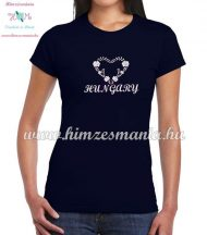 Short Sleeve T-Shirt Women - HUNGARY inscription - machine embroidered - Matyo heart - navy