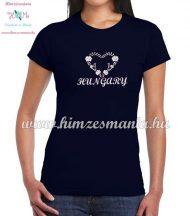 HUNGARY feliratos hímzett női póló matyó szív mintával - kék