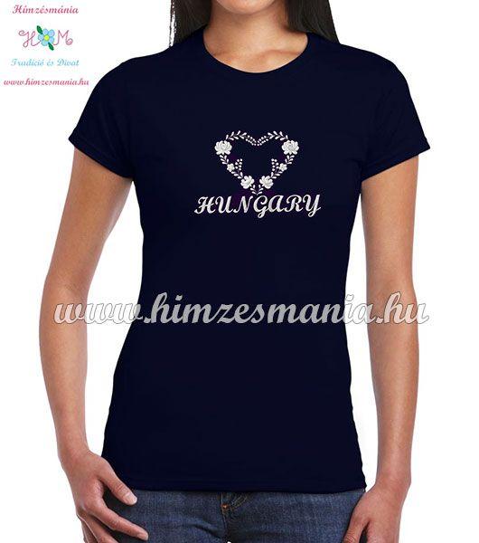 51d4254ebe HUNGARY feliratos hímzett női póló matyó szív mintával - kék ...