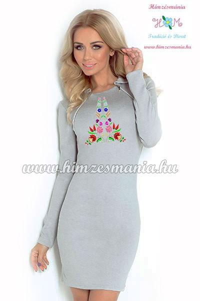 Elegáns női ruha kalocsai - hosszú ujjú - gépi hímzés - szürke ... f7c2337ec9