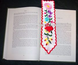 Bookmark - hand embroidery - hungarian folk - Kalocsa motif
