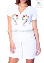 Terry beach dress - folk machine embroidered - Kalocsa heart design - white