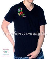 V-neck, short-sleeved T-shirt man - machine embroidery - Kalocsa folk motif - black