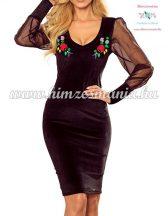 Elegant dress - folk embroidery - Kalocsai pattern black
