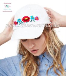 Baseball cap - hungarian folk - machine embroidery - kalocsai motif - unisex - white
