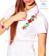 Women's short sleeve shirt - hungarian folk - hand embroidery - Kalocsa motif - white