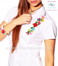 Women's short sleeve shirt - hungarian folk - hand embroidery - Kalocsa motif - white