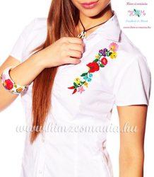 Fehér rövid ujjú női ing kalocsai hímzéssel - Hímzésmánia