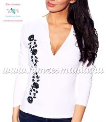 Ladies long sleeve t-shirt half-zip - hungarian black embroidery - Kalocsai pattern - white