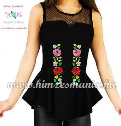 Sleeveless blouse - hungarian folk machine embroidery - Kalocsa motif - black