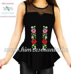 Ujjatlan divatos női blúz kalocsai mintás gépi hímzés - fekete