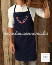 Apron - hungarian folk - machine embroidery- Matyo pattern - unisex - navy