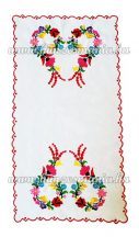 Tablecloth - hungarian folk - hand embroidery - Kalocsa heart motif - 66x34 cm
