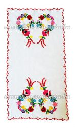 Tablecloth - hungarian folk - hand embroidery - Kalocsa heart motif - 66x34 cm