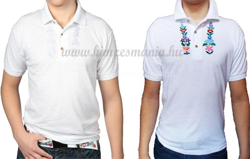 Hímzésmánia - hímezhető férfi galléros póló kalocsai mintával - fehér 517b61d925