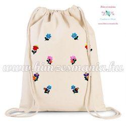 Canvas backpack - folk embroidery - Hungary - Matyo pattern - Natur