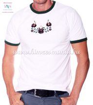 Mens T-shirt - hungarian folk machine embroidery - Matyo style - white