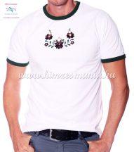 Matyó mintás hímzett paszpólos férfi póló - Hímzésmánia - fehér (S)