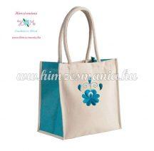 Matyó mintás pamutvászon táska - gépi hímzés - natúr/kék