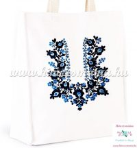 Cotton canvas tote bag - hungarian folk embroidery - handmade - white