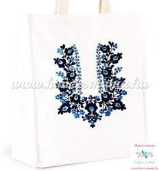 Fehér pamutvászon táska - kék matyó mintával - kézi hímzés