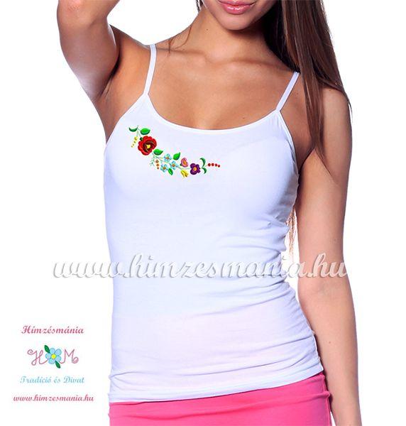 Spaghetti strap top - hungarian folk - machine embroidery - Kalocsa pattern  - white 07fea4481f