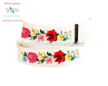 Belt - folk embroidery - Kalocsa style - white