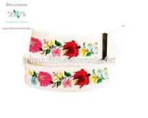 Belt - folk embroidery - Kalocsa style - white