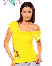 Embroidery Mania - T-shirt hungarian folk hand-embroidered - lemon
